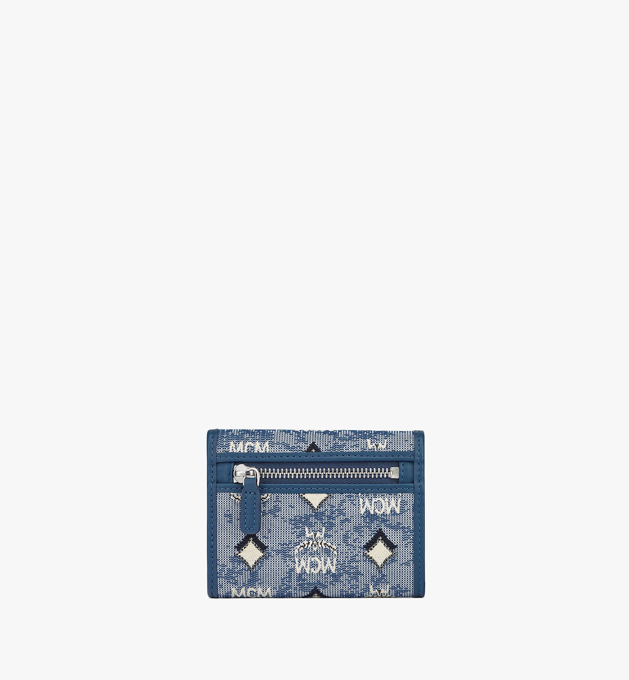 MCM 復古緹花花押字圖案三折錢包 Blue MYSBATQ01LU001 更多視圖 2