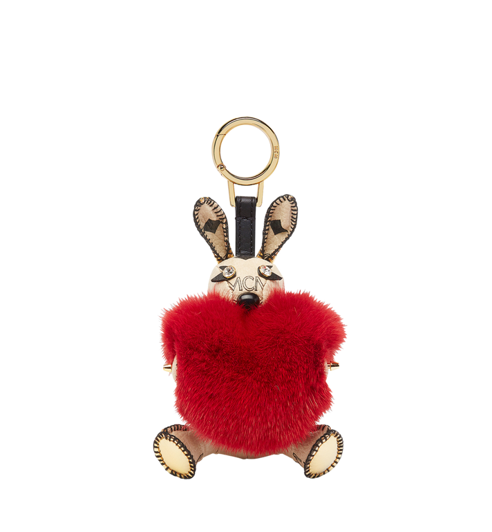 MCM Rabbit Fur Heart Animal Charm Alternate View 1