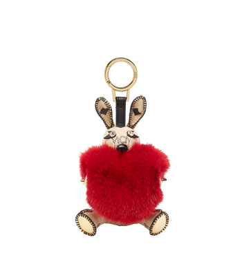 MCM Rabbit Fur Heart Animal Charm Alternate View