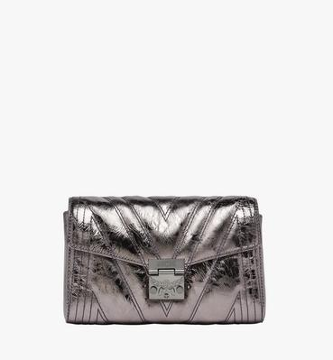 Millie Flap Crossbody in Quilted Metallic Leather