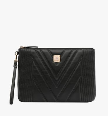 Wristlet Zip Pouch in Quilted Leather