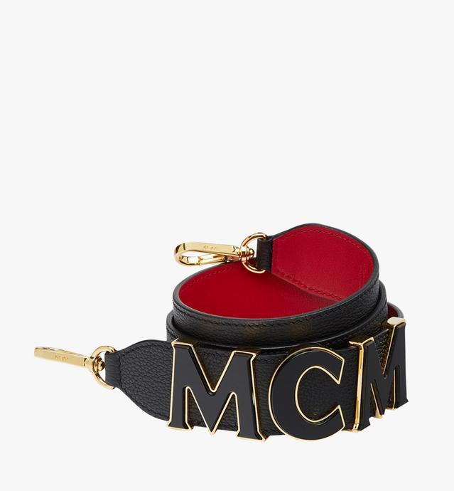 MCM Letter Shoulder Strap in Grained Leather