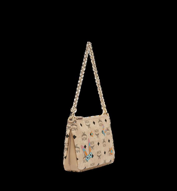 MCM Star Eyed Bunny Top Zip Shoulder Bag in Visetos MYZ8SME70IG001 AlternateView2