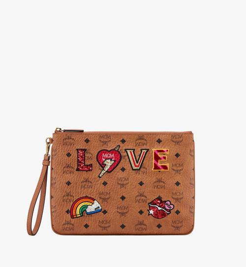 Zip Pouch in Love Patch Visetos