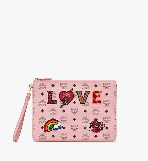 Wristlet Zip Pouch in Love Patch Visetos