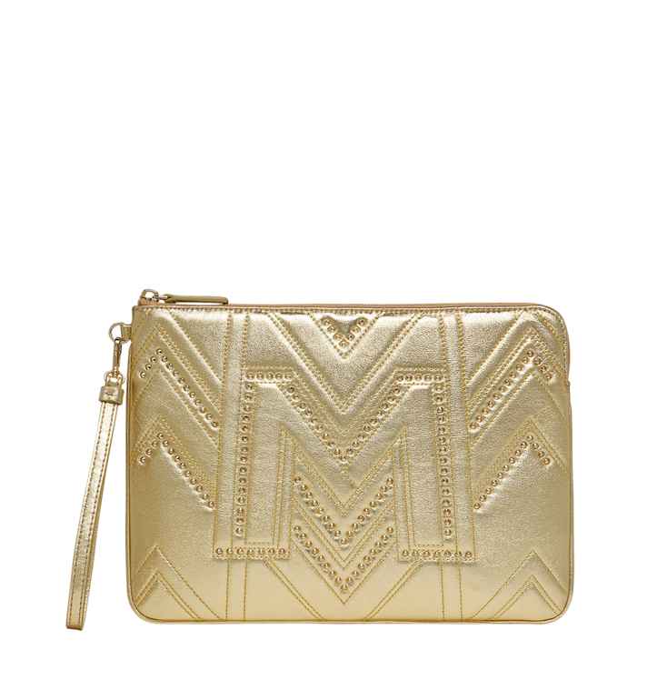 MCM Wristlet Zip Pouch in Quilted Studs Alternate View
