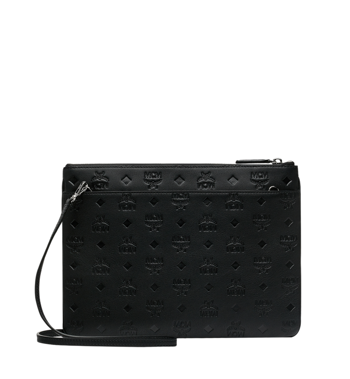 MCM Crossbody Pouch in Monogram Leather Black MYZ9SKM42BK001 Alternate View 3