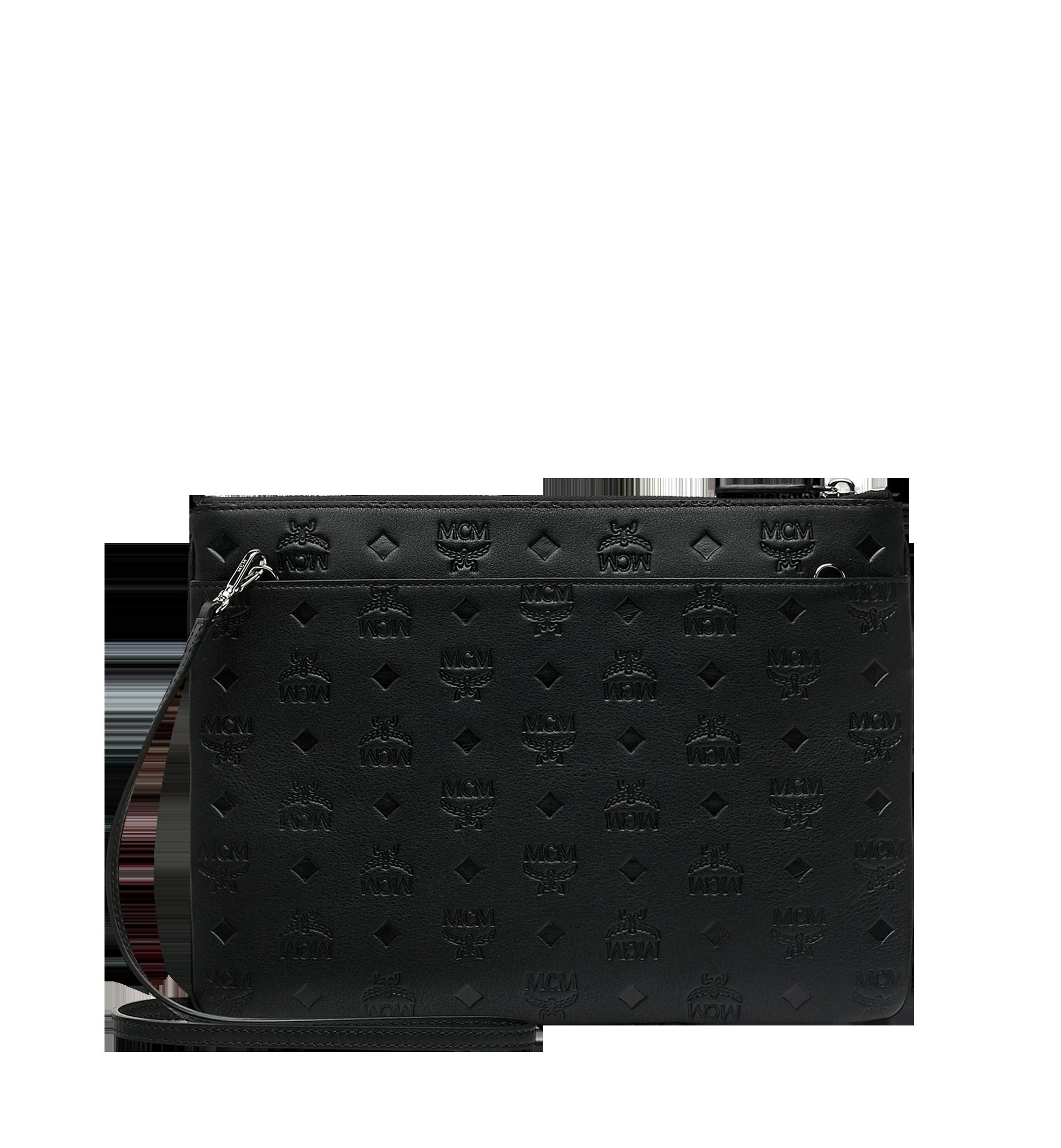 MCM Crossbody Pouch in Monogram Leather Black MYZ9SKM42BK001 Alternate View 3