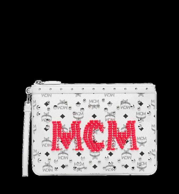 MCM Wristlet Zip Pouch in Neon Stud Visetos Alternate View
