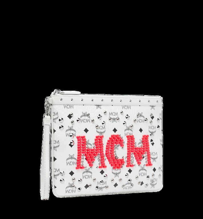 MCM Wristlet Zip Pouch in Neon Stud Visetos White MYZ9SNV03WT001 Alternate View 2