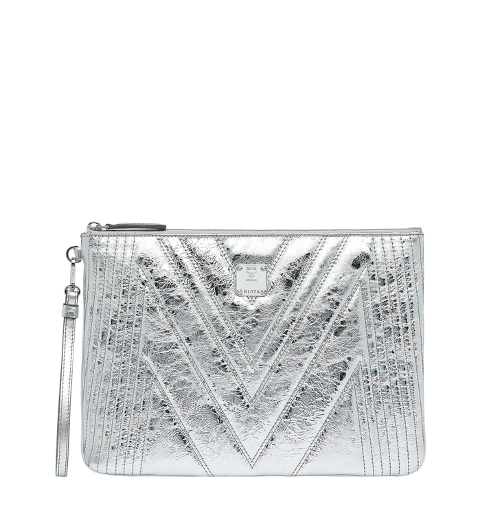MCM Wristlet Zip Pouch in Quilted Metallic Leather Alternate View