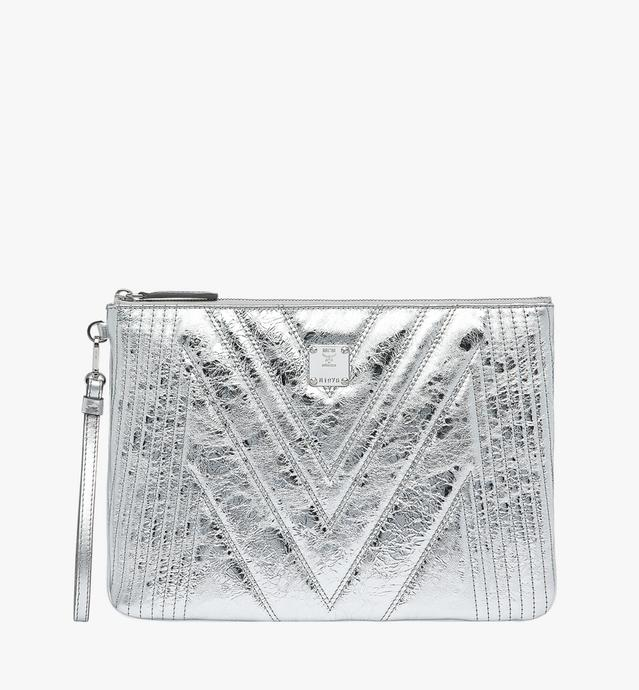Wristlet Zip Pouch in Quilted Metallic Leather
