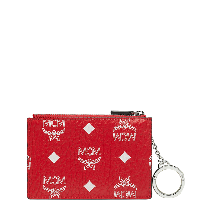 MCM Key Pouch in White Logo Visetos Red MYZ9SWA09AV001 Alternate View 3