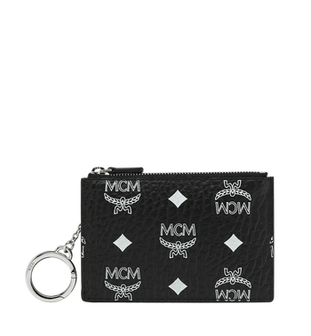 MCM Key Pouch in White Logo Visetos Alternate View