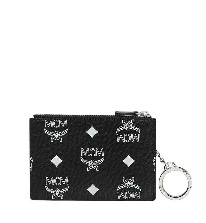 MCM Key Pouch in White Logo Visetos Alternate View 3