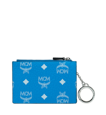 MCM Key Pouch in White Logo Visetos Alternate View 3