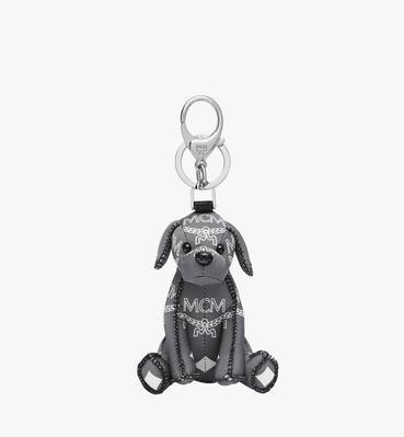 MCM Zoo Dog Charm in White Logo Nylon