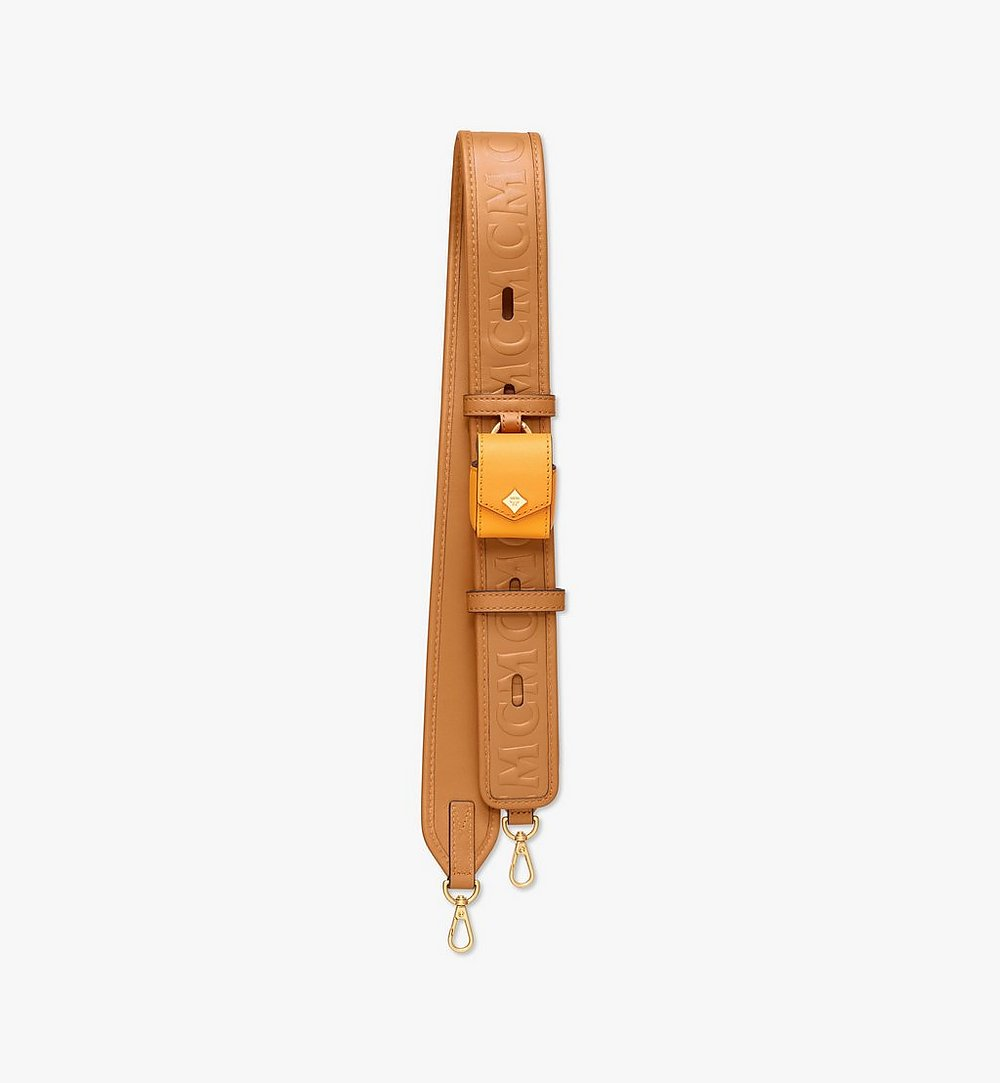 MCM MCM Monogram Leather Strap with AirPods Case Cognac MYZAAMM06CO001 Alternate View 1