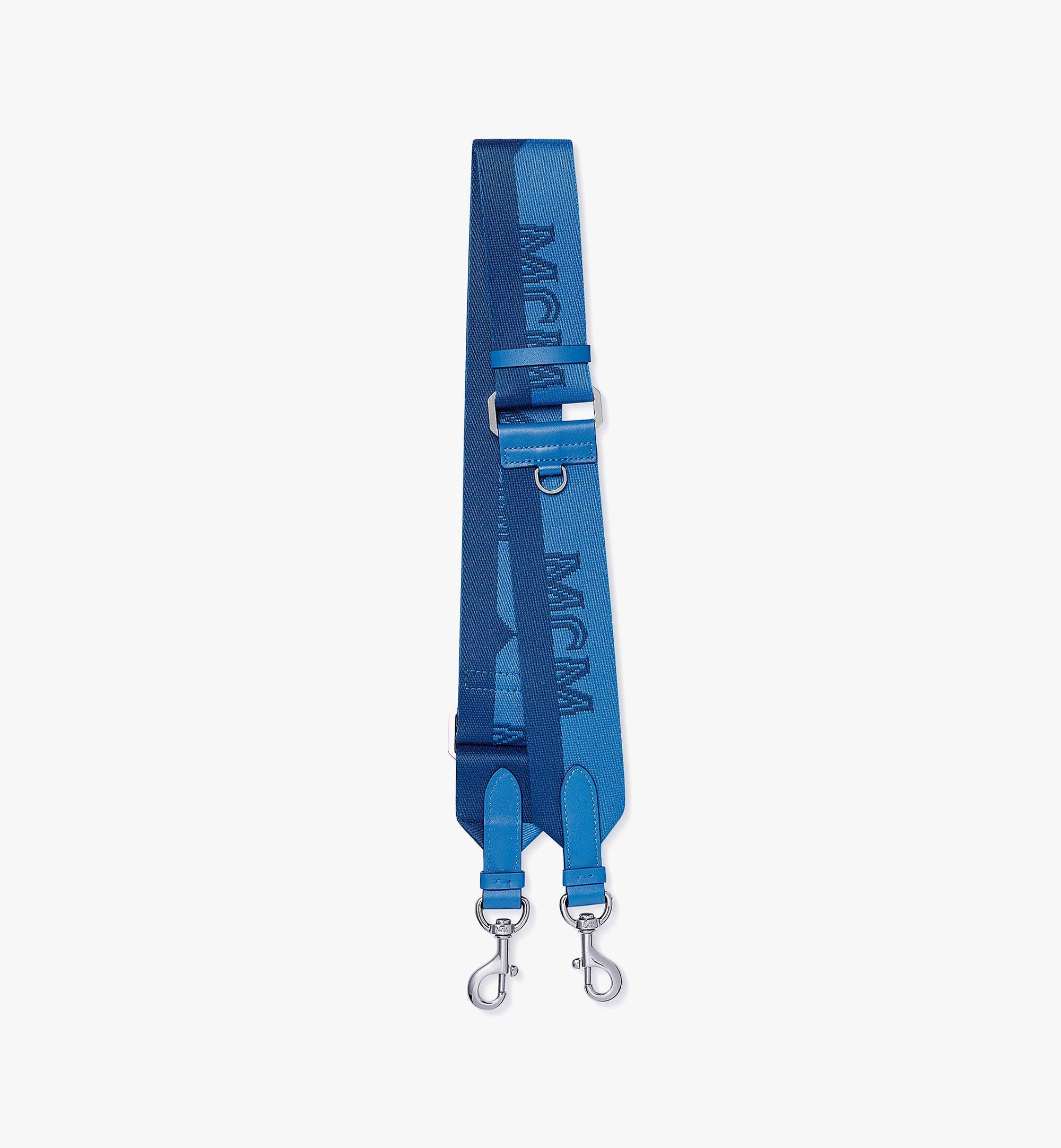 MCM Jacquard Shoulder Strap in Half-Logo Webbing Blue MYZBAMM03H9001 Alternate View 1