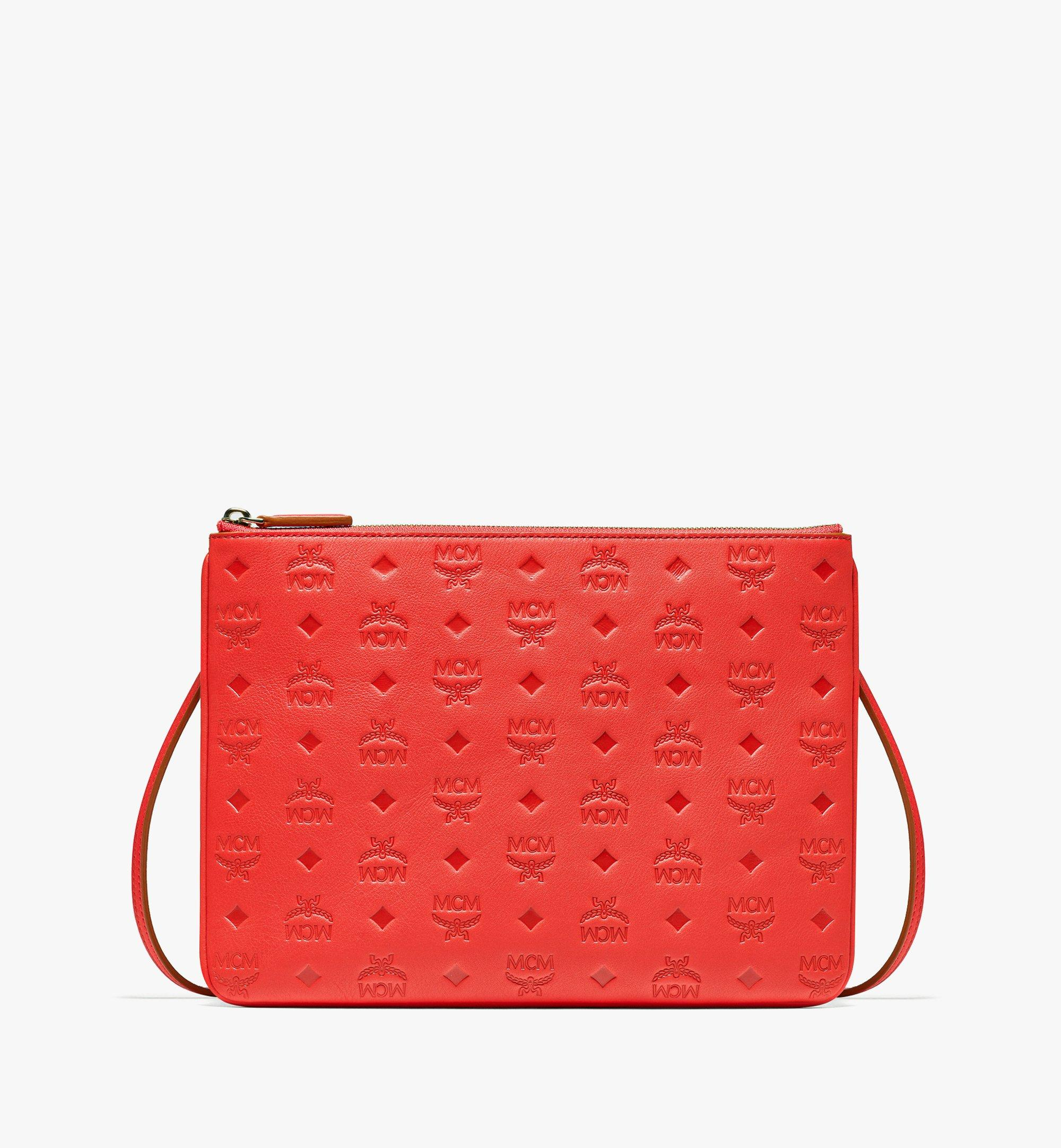MCM Crossbody Pouch in Monogram Leather Red MYZBSKM03R8001 Alternate View 1