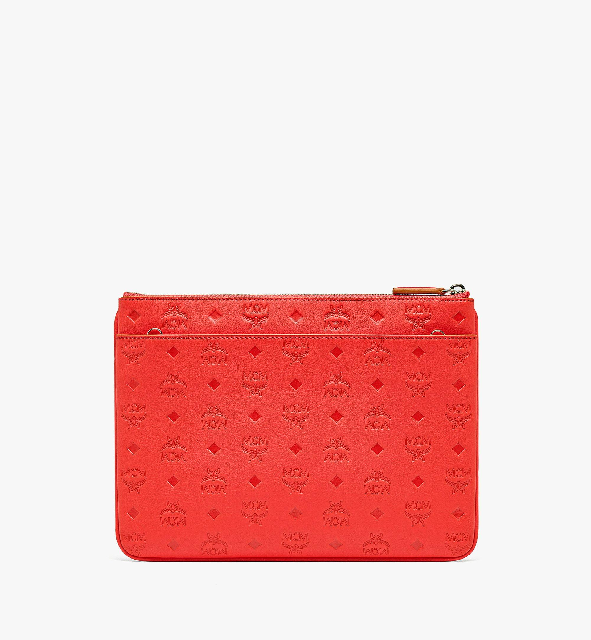 MCM Crossbody Pouch in Monogram Leather Red MYZBSKM03R8001 Alternate View 2