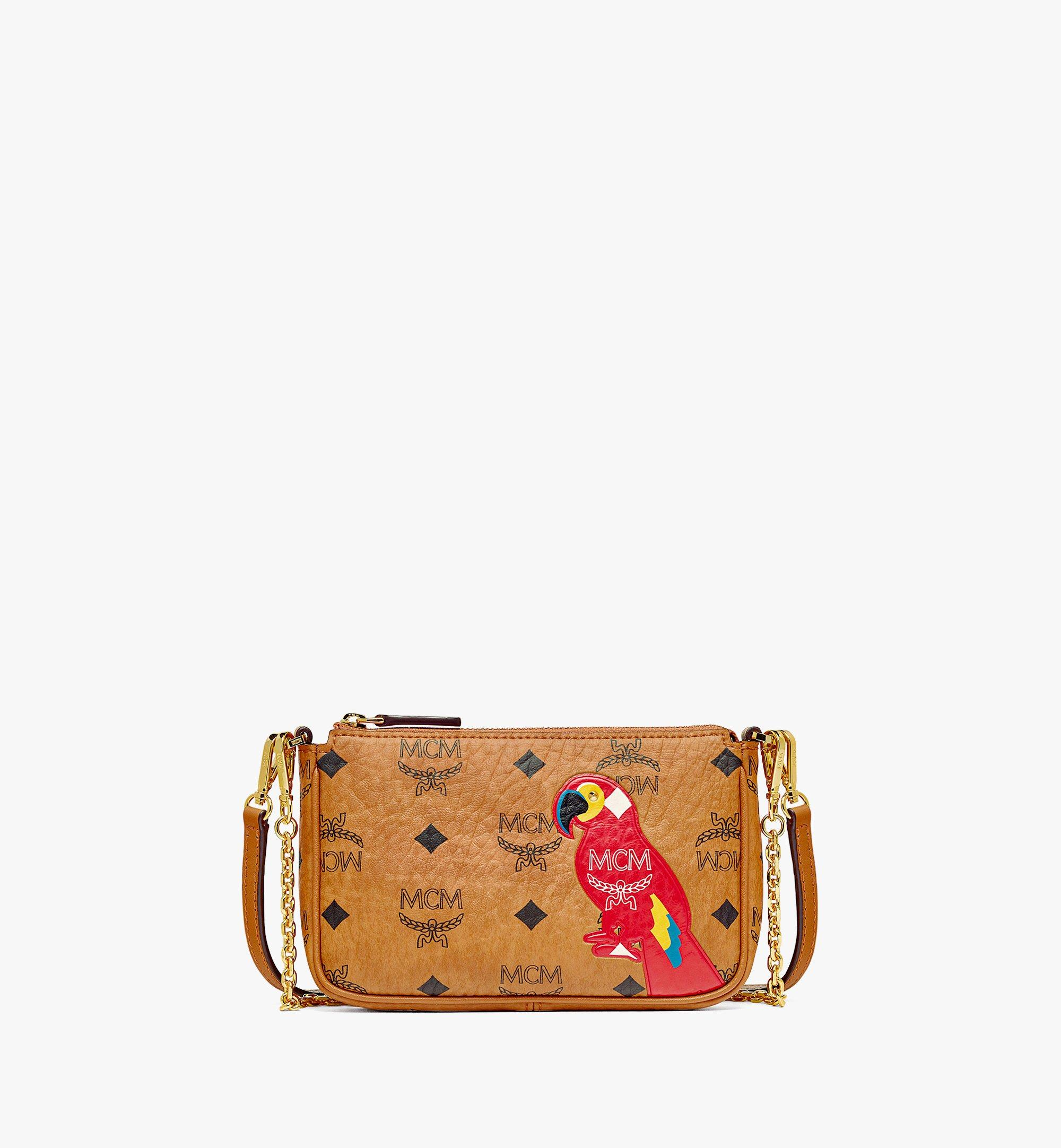 MCM MCM Zoo Parrot Crossbody Pouch in Visetos Cognac MYZBSXL02CO001 Alternate View 1