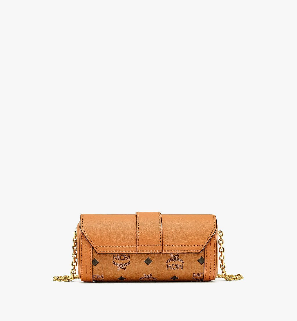 MCM Tracy Cylinder Bag in Visetos Cognac MYZBSXT01CO001 Alternate View 3