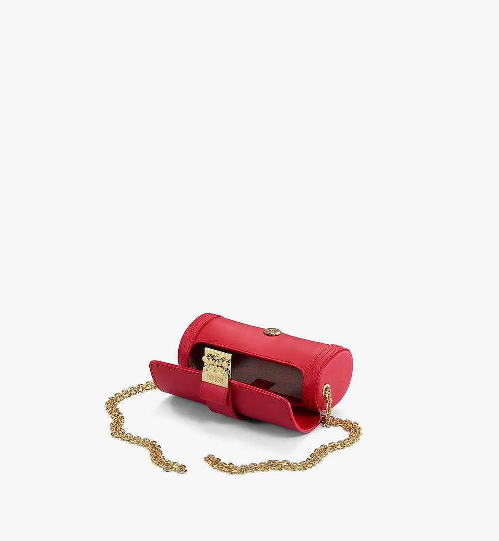 MCM Tracy Cylinder Bag in Vachetta Leather Red MYZBSXT02RU001 Alternate View 2