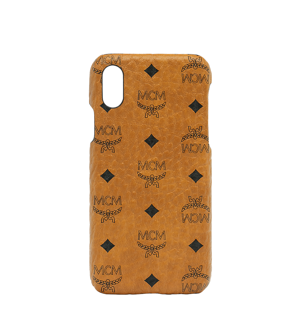 MCM iPhone X Case in Visetos Original Cognac MZE8AVI97CO001 Alternate View 1