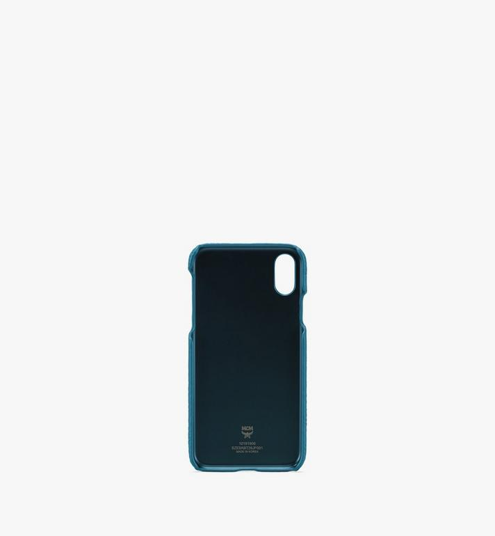 MCM Tivitat iPhone X/XS Case in Monogram Leather Blue MZE9ABT26JF001 Alternate View 2