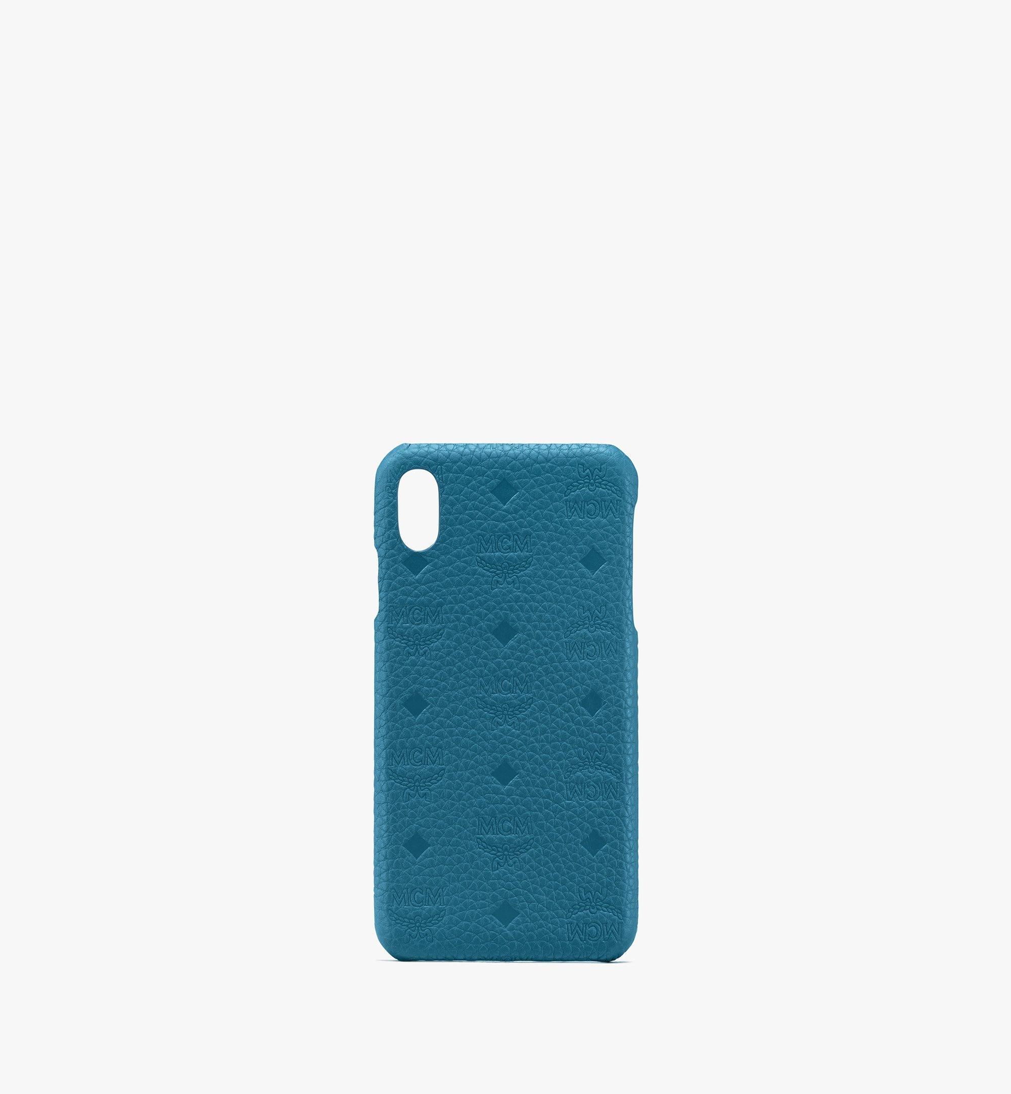 MCM Tivitat iPhone XS Max Case in Monogram Leather Blue MZE9ABT30JF001 Alternate View 1