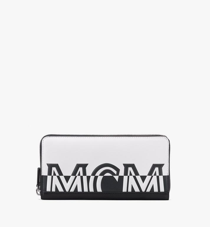 MCM Zip Around Wallet in Contrast Logo Leather Alternate View