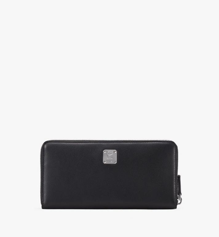 MCM Zip Around Wallet in Contrast Logo Leather Alternate View 2
