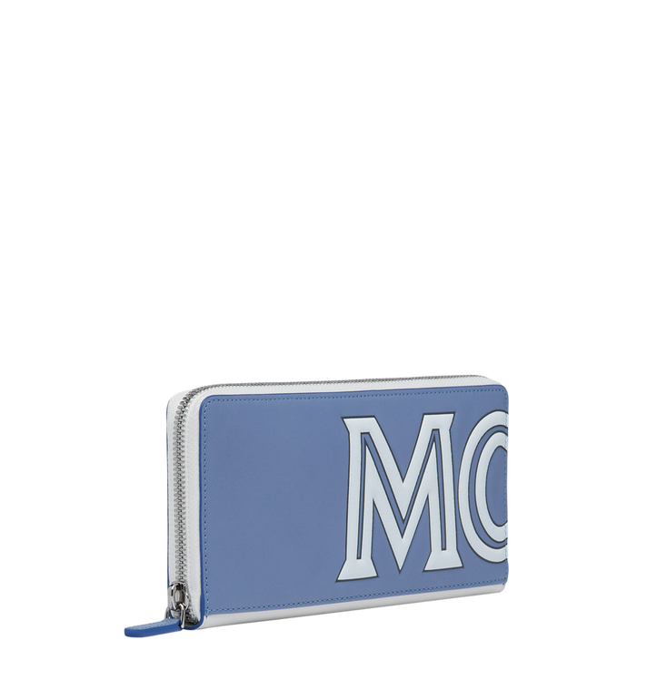 MCM Contrast Logo Zip Wallet in Leather Grey MZL9SCL02HE001 Alternate View 2