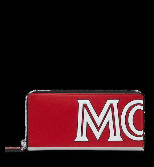 Zip Around Wallet in Contrast Logo Leather