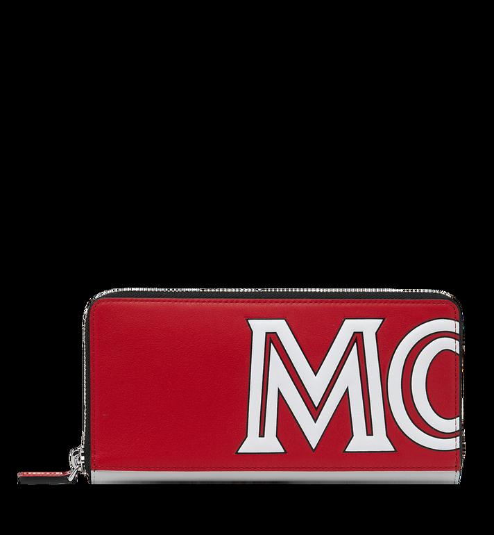 MCM Brieftasche aus Leder mit Reissverschluss und kontrastfarbenem Logo  Alternate View