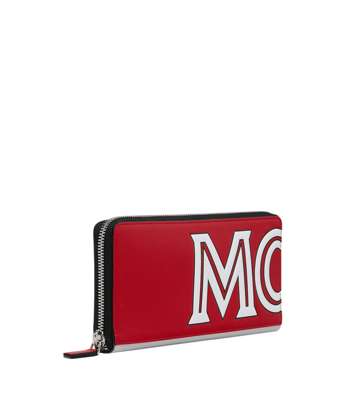 MCM Contrast Logo Zip Wallet in Leather Red MZL9SCL02RU001 Alternate View 2
