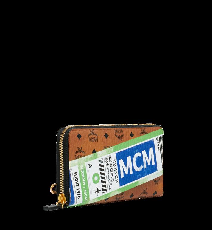 MCM Wristlet Zip Wallet in Flight Print Visetos Cognac MZL9SVI94CO001 Alternate View 2