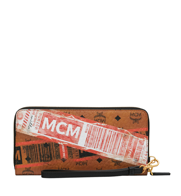 MCM Wristlet Zip Wallet in Flight Print Visetos Cognac MZL9SVI94CO001 Alternate View 3
