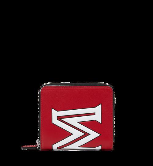 Zip Wallet in Contrast Logo Leather