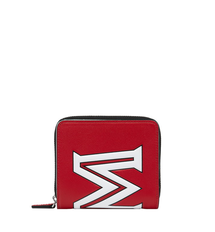 MCM Zip Wallet in Contrast Logo Leather Alternate View