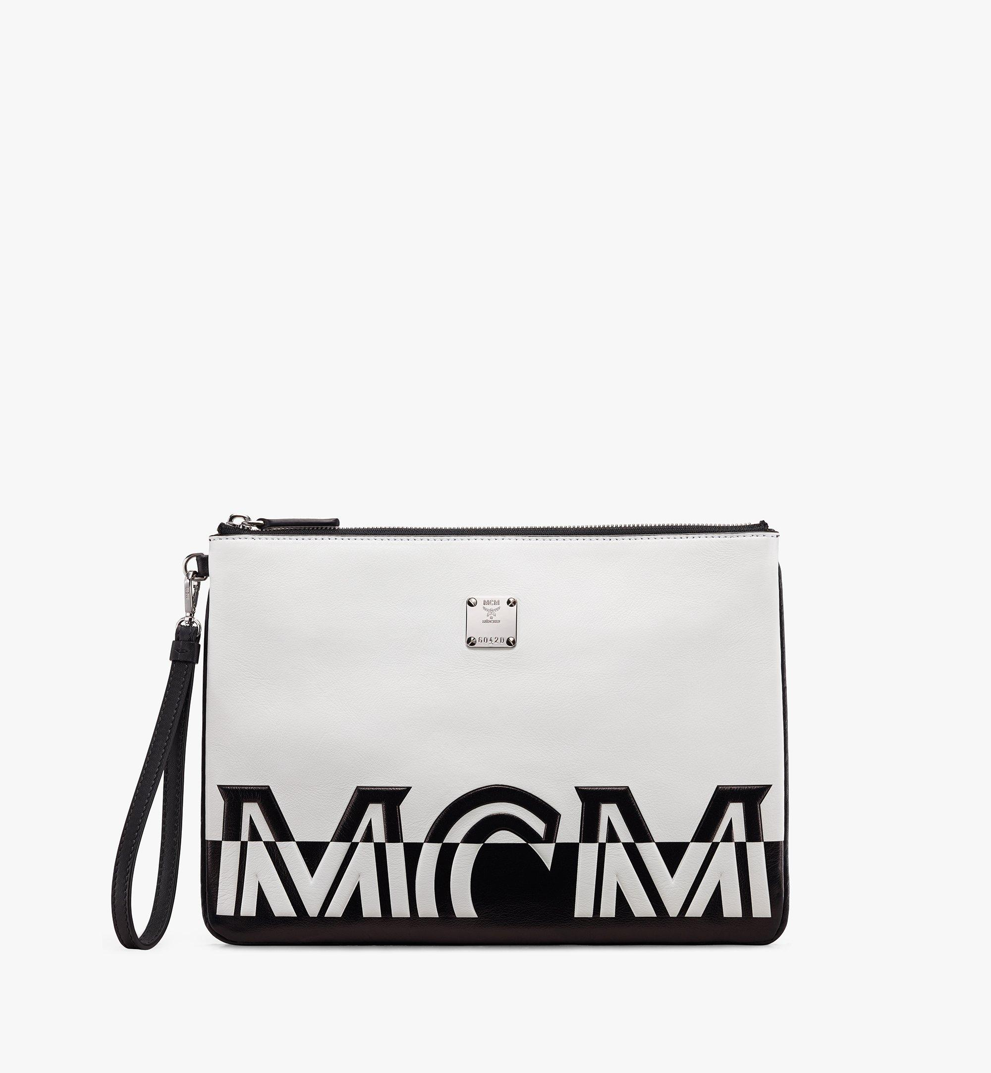 Mcm Wristlet Zip Pouch In Contrast Logo Leather In White
