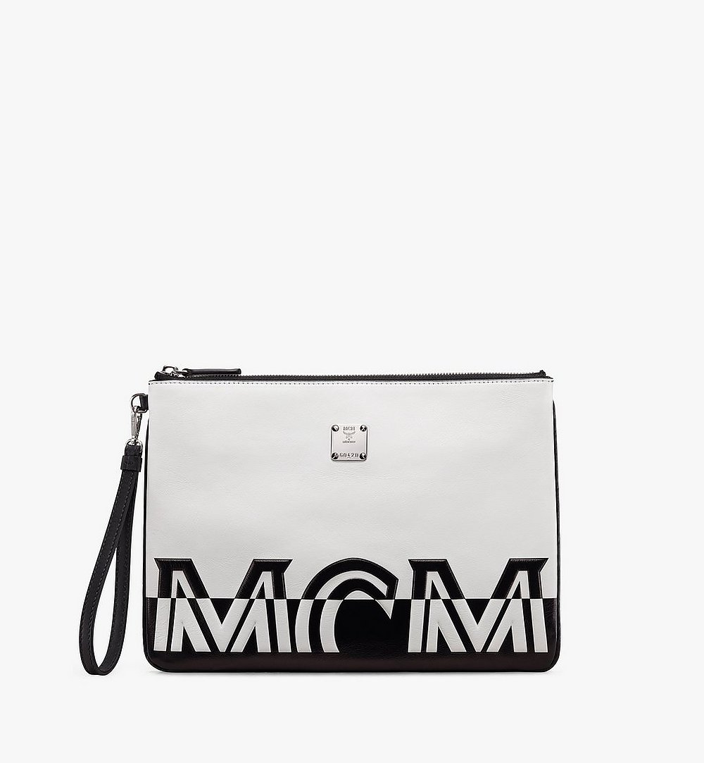 MCM Wristlet Zip Pouch in Contrast Logo Leather White MZZ9ACL15WT001 Alternate View 1