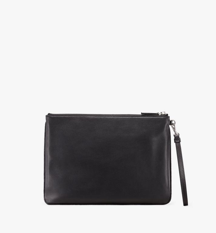 MCM Wristlet Zip Pouch in Contrast Logo Leather Alternate View 2