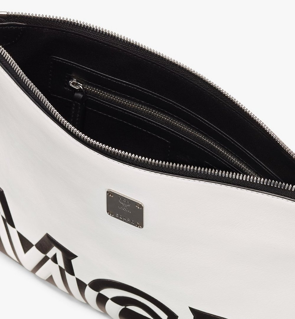 MCM Wristlet Zip Pouch in Contrast Logo Leather White MZZ9ACL15WT001 Alternate View 2