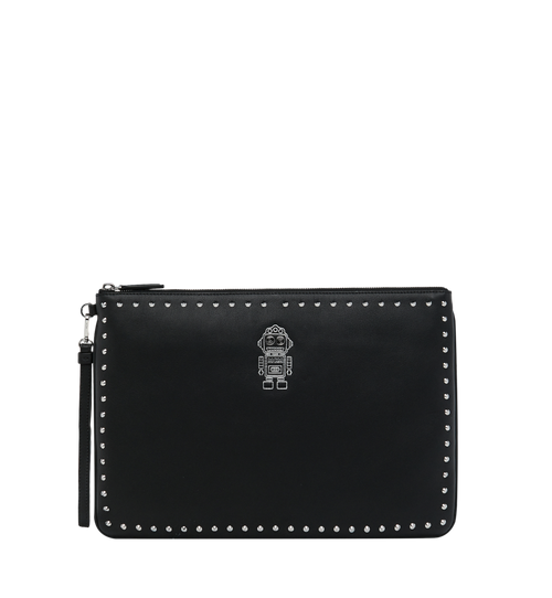 Roboter Wristlet Zip Pouch in Nappa Leather