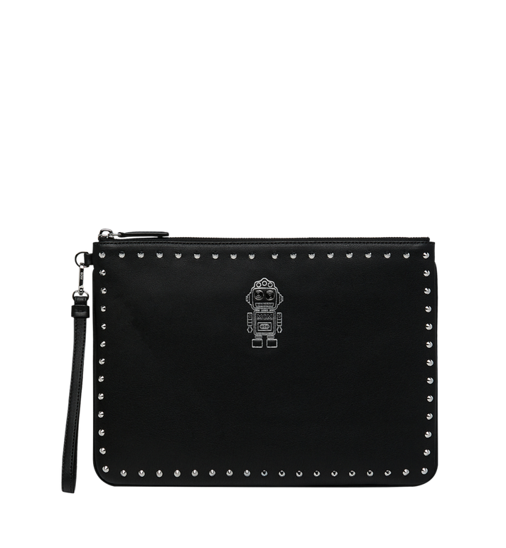 MCM Roboter Wristlet Zip Pouch in Nappa Leather Alternate View