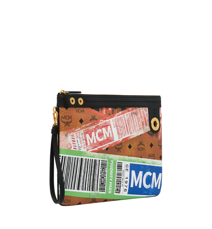 MCM Top Zip Pouch in Flight Print Visetos Cognac MZZ9SVI93CO001 Alternate View 2